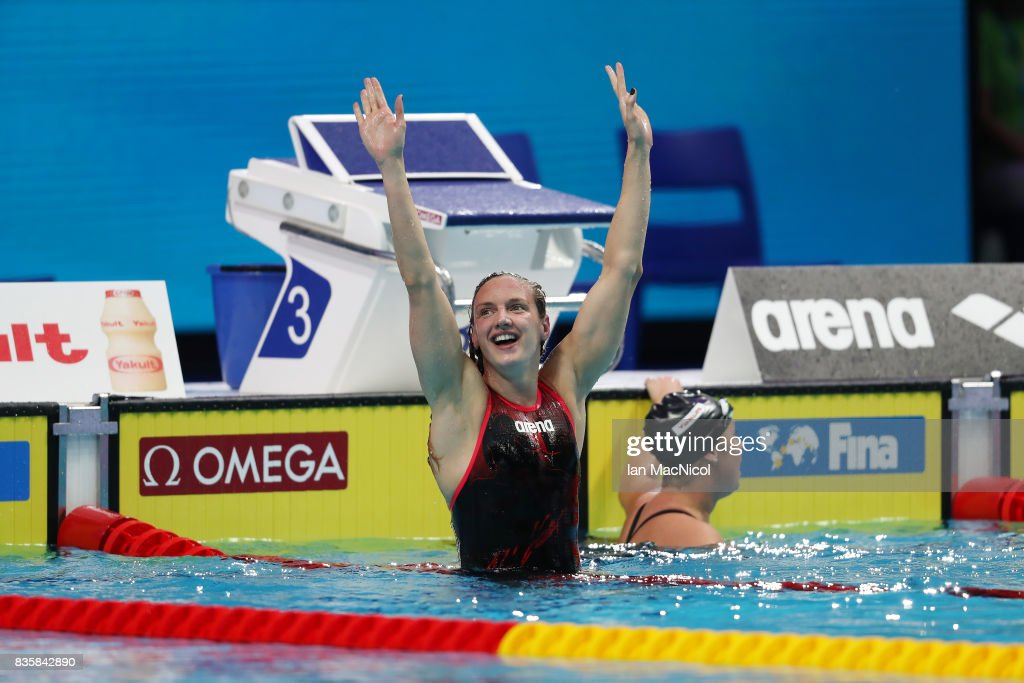 Katinka Hosszu of Hungary celebrates after she wins the Women's 400m IM final during day seventeen of the FINA World Championships at the Duna Arena on July 30, 2017 in Budapest, Hungary.