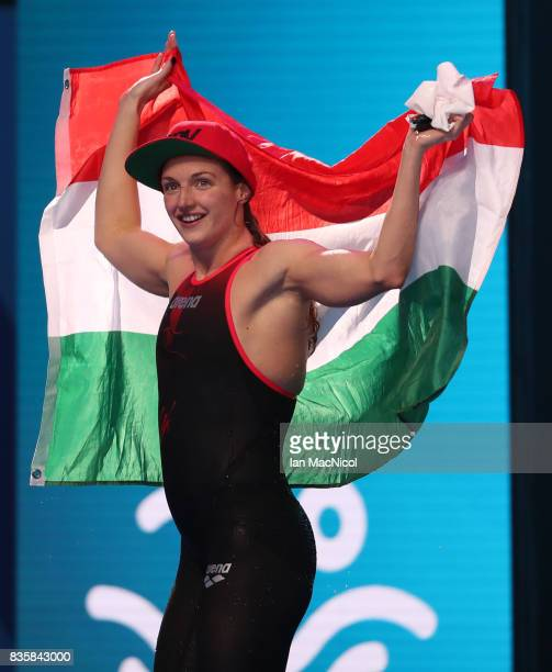 Katinka Hosszu of Hungary celebrates after she wins the Women's 400m IM final during day seventeen of the FINA World Championships at the Duna Arena...