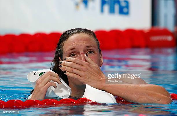 Katinka Hosszu of Hungary celebrates after winning the gold medal and setting a new world record of 120612 in the Women's 200m Individual Medley...