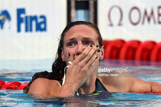 Katinka Hosszu of Hungary celebrates after winning the gold medal and setting a new world record of 20612 in the Women's 200m Individual Medley Final...