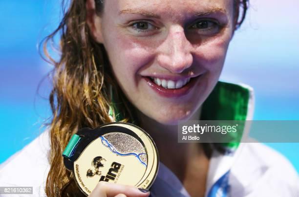 Katinka Hosszu of Hungary celebrates winning gold in the Women's 200m Individual Medley Final on day eleven of the Budapest 2017 FINA World...