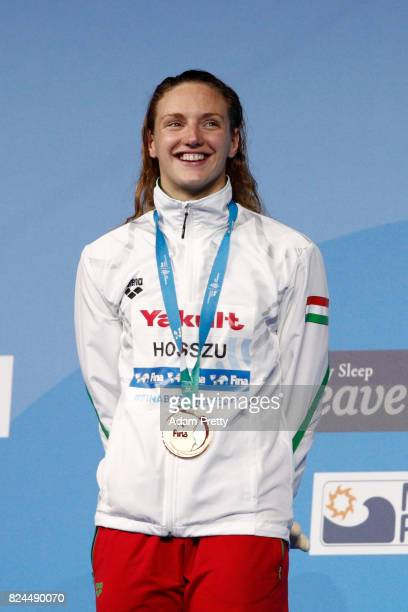Katinka Hosszu of Hungary celebrates winning her gold medal in the Women's 400m Individual Medley on day seventeen of the Budapest 2017 FINA World...