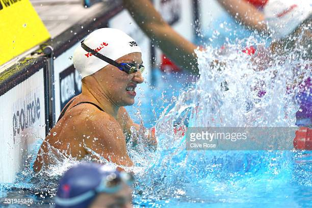 Katinka Hosszu of Hungary celebrates winning the Women's 200m Backstroke Final on day nine of the 33rd LEN European Swimming Championships 2016 at...