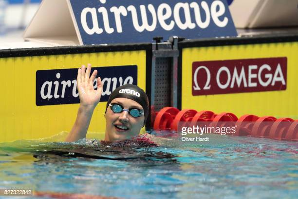 Katinka Hosszu of Hungary compete in the Women's 100m butterfly final race during day two of the FINA Airweave Swimming World Cup Berlin 2017 at...