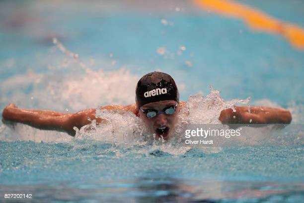 Katinka Hosszu of Hungary compete in the Women's 100m butterfly race during day two of the FINA Airweave Swimming World Cup Berlin 2017 at Europa...