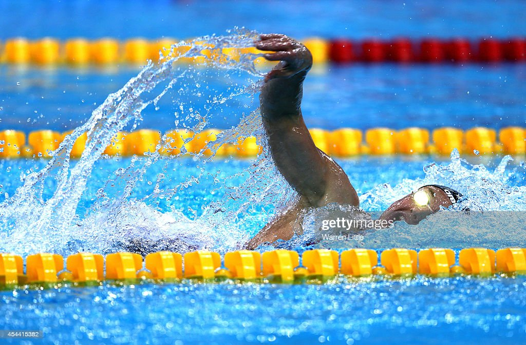 Katinka Hosszu of Hungary competes in the Women's 200m Freestyle heats during the FINA Swimming World Cup at Hamdan Sports Complex on August 31 2014...