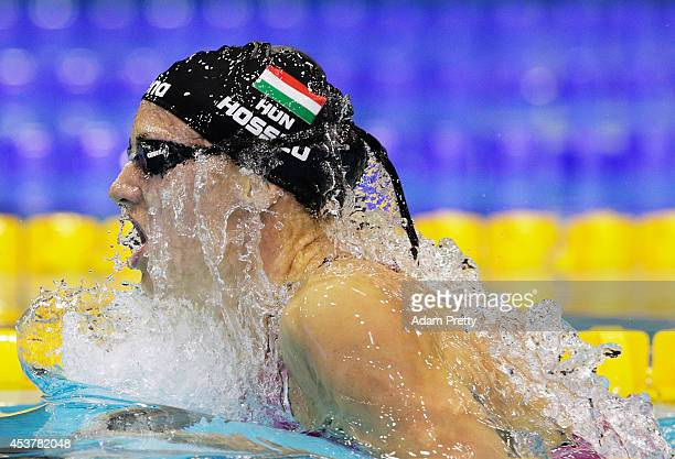 Katinka Hosszu of Hungary on her way to gold in the Women's 400m Medley heats at EuropaSportpark on August 18 2014 in Berlin Germany