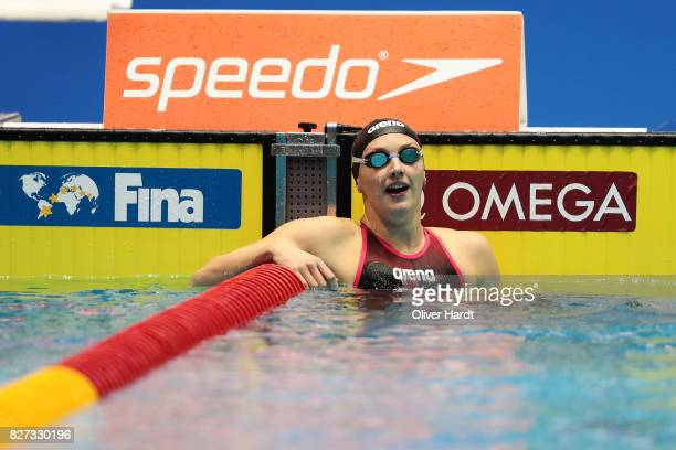 Katinka Hosszu of Hungarycompete in the Women's 200m backstroke final race during day two of the FINA Airweave Swimming World Cup Berlin 2017 at...