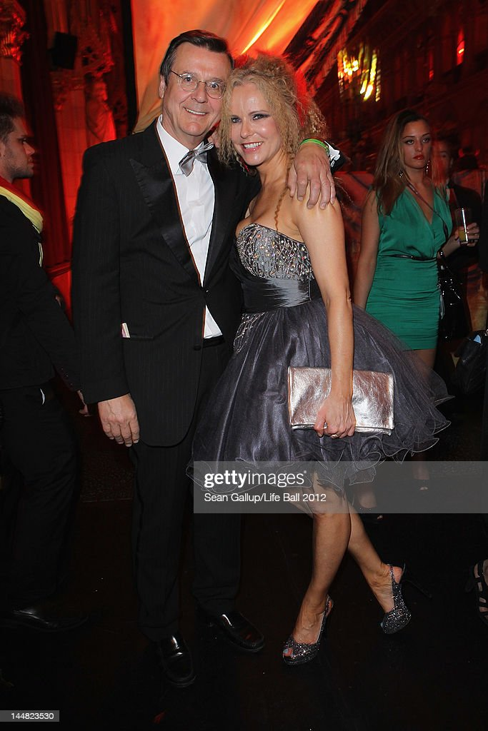 Katja Burkard and Hans Mahr attend the afterparty at the Life Ball 2012 AIDS charity fundraiser at City Hall on May 19, 2012 in Vienna, Austria.