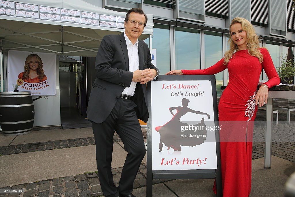 Katja Burkard and Hans Mahr attend the party of Katja Burkard, who celebrates her 50th Birthday at Vintage-Restaurant on April 25, 2015 in Cologne, Germany.