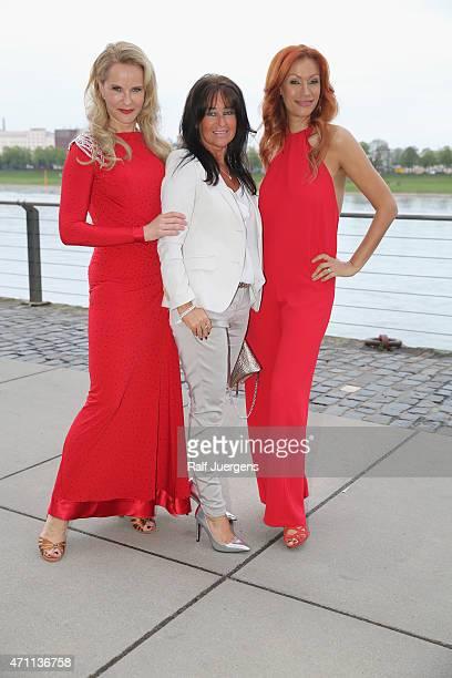 Katja Burkard Yasmina Filali and Manuela Maske attend the party of Katja Burkard who celebrates her 50th Birthday at VintageRestaurant on April 25...