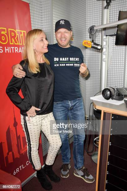 Katja Desens with Mario Barth during he hosted his first morning show at RTL radio Berlin on April 3 2017 in Berlin Germany