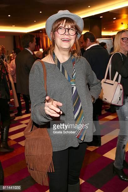 Katja Ebstein during the 'Christine Neubauer Hautnah' exhibition opening at Hotel Vier Jahreszeiten on February 20 2016 in Munich Germany