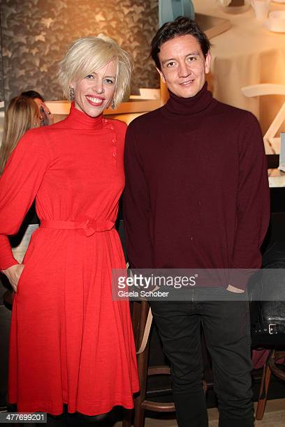 Katja Eichinger and boyfriend Anthony James attend the 'Art Food' cocktail at Ella restaurant at Lenbachhaus on March 10 2014 in Munich Germany