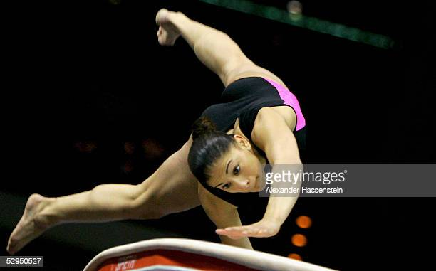 Katja ElHalabi of Germany performs on the vault during the International German Gymnastics Festival on May 19 2005 in Berlin Germany