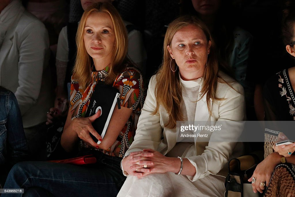 <a gi-track='captionPersonalityLinkClicked' href=/galleries/search?phrase=Katja+Flint&family=editorial&specificpeople=2106641 ng-click='$event.stopPropagation()'>Katja Flint</a> and a guest attend the runway at the fashion talent award 'Designer for Tomorrow' by Peek & Cloppenburg and Fashion ID hosted by Alber Elbaz during the Mercedes-Benz Fashion Week Berlin Spring/Summer 2017 at Erika Hess Eisstadion on June 30, 2016 in Berlin, Germany.