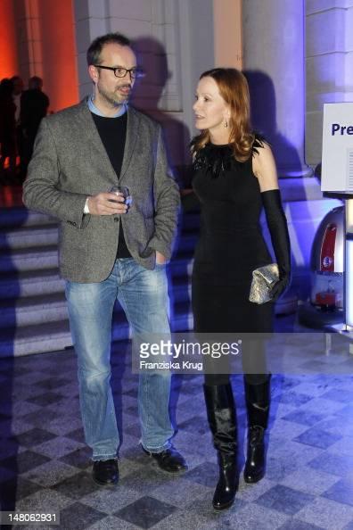 Katja Flint and Gunnar Fuss attend 'ARD Degeto Blue Hour' Party in the Museum of communication in Berlin on February 11 2012 in Berlin Germany