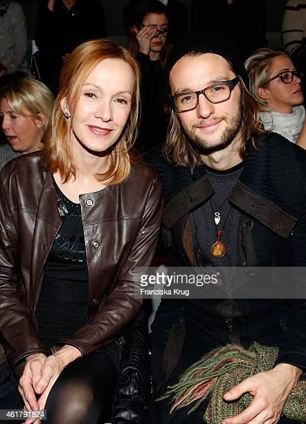 Katja Flint and her son Oscar Lauterbach attend the Laurel show during the MercedesBenz Fashion Week Berlin Autumn/Winter 2015/16 at Brandenburg Gate...