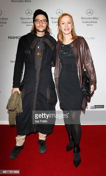 Katja Flint and Oscar Lauterbach attend the Laurel show during the MercedesBenz Fashion Week Berlin Autumn/Winter 2015/16 at Brandenburg Gate on...