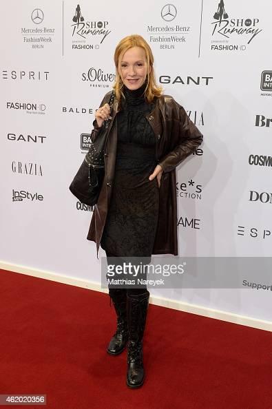 Katja Flint attends the 'Shop the Runway by Fashion ID' show during the MercedesBenz Fashion Week Berlin Autumn/Winter 2015/16 at Brandenburg Gate on...