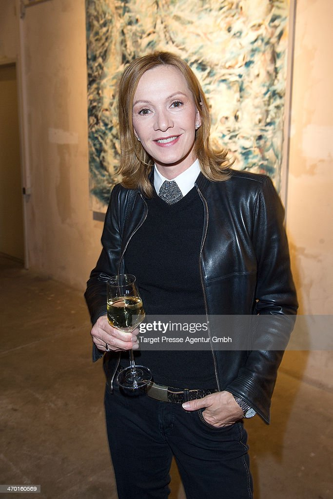 Katja Flint attends the Vernissage of Frank Mutters at the Nhow Hotel on February 18 2014 in Berlin Germany