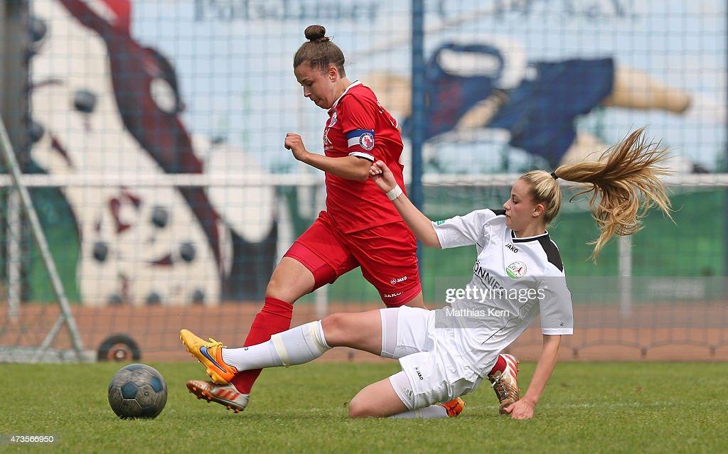 Katja Friedl of Potsdam battles for the ball with Valentina Vogt of Guetersloh during the U17 Girl's Bundesliga semi final first leg match between...
