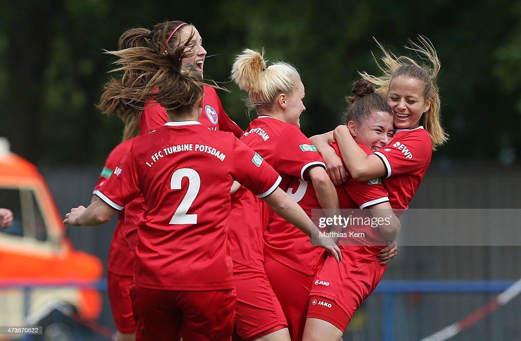 Katja Friedl of Potsdam jubilates with team mates after scoring the first goal during the U17 Girl's Bundesliga semi final first leg match between...