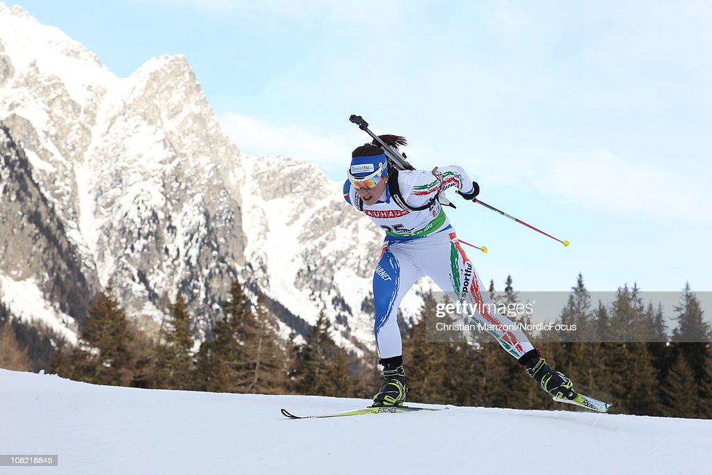 Katja Haller of Italy competes in the women's sprint during the E.ON IBU Biathlon World Cup on January 21, 2011 in Antholz-Anterselva, Italy.