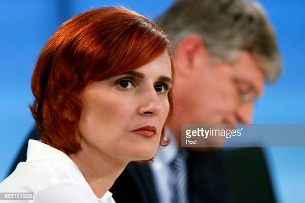 Katja Kipping cochairwoman of the German 'The Left' party and Joerg Meuthen federal cochairman of the German 'Alternative for Germany' party attend a...