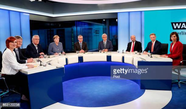 Katja Kipping cochairwoman of the German 'The Left' party Joerg Meuthen federal cochairman of the German 'Alternative for Germany' party Joachim...