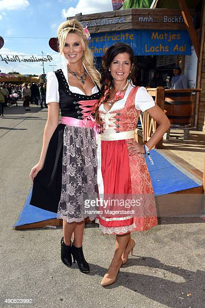 Katja Kuehne and fashion designer Birgit Backeler attend the Ladies Lunch at Fisch Baeda during the Oktoberfest 2015 at Theresienwiese on September...