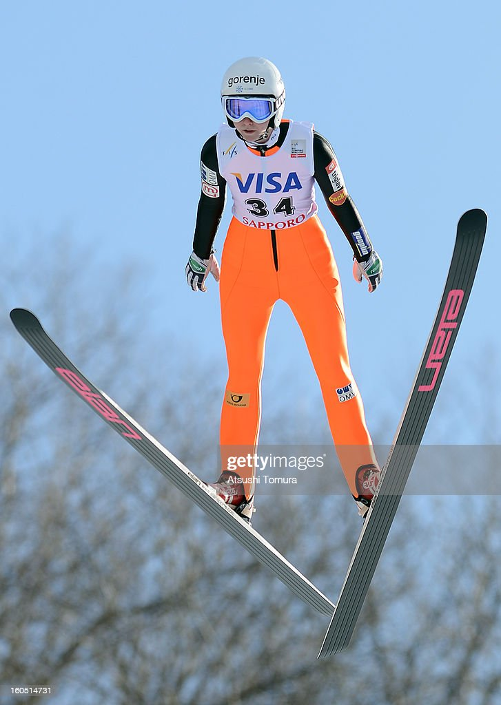 Katja Pozun of Slovenia an action during day one of the FIS Women's Ski Jumping World Cup at Miyanomori Jump Stadium on February 2, 2013 in Sapporo, Japan.