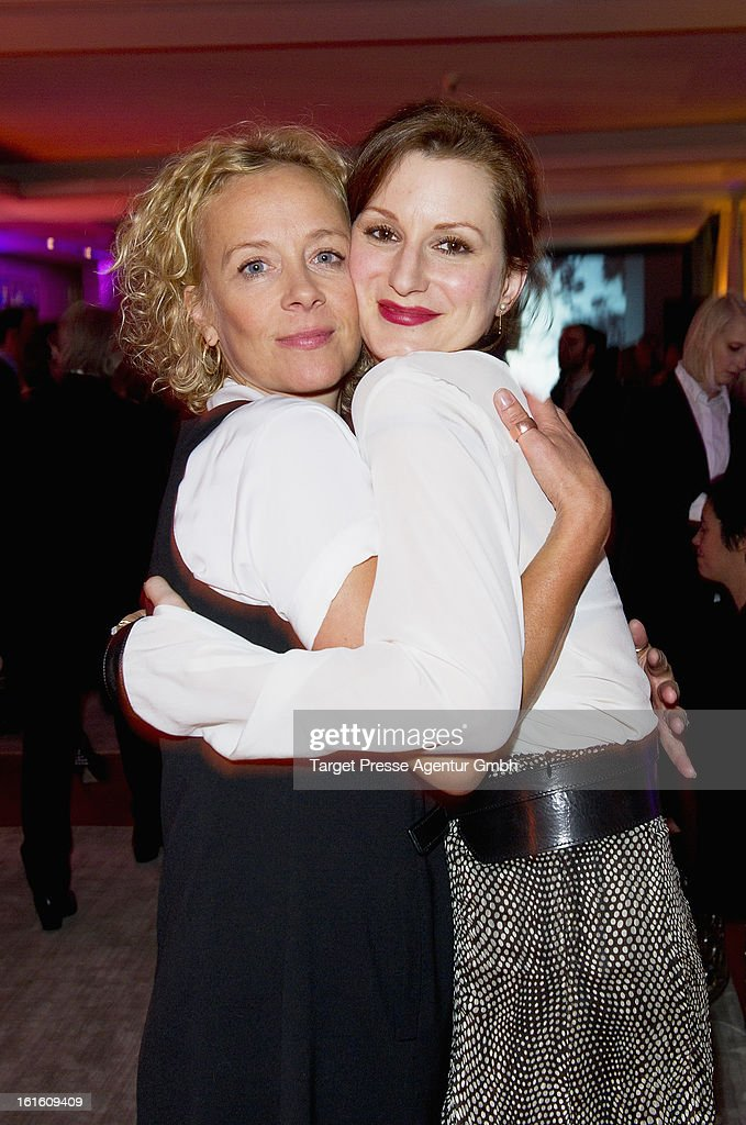 Katja Riemann and Nadine Schori attend the 'Soiree Francaise Du Cinema' at the French embassy on February 12, 2013 in Berlin, Germany.