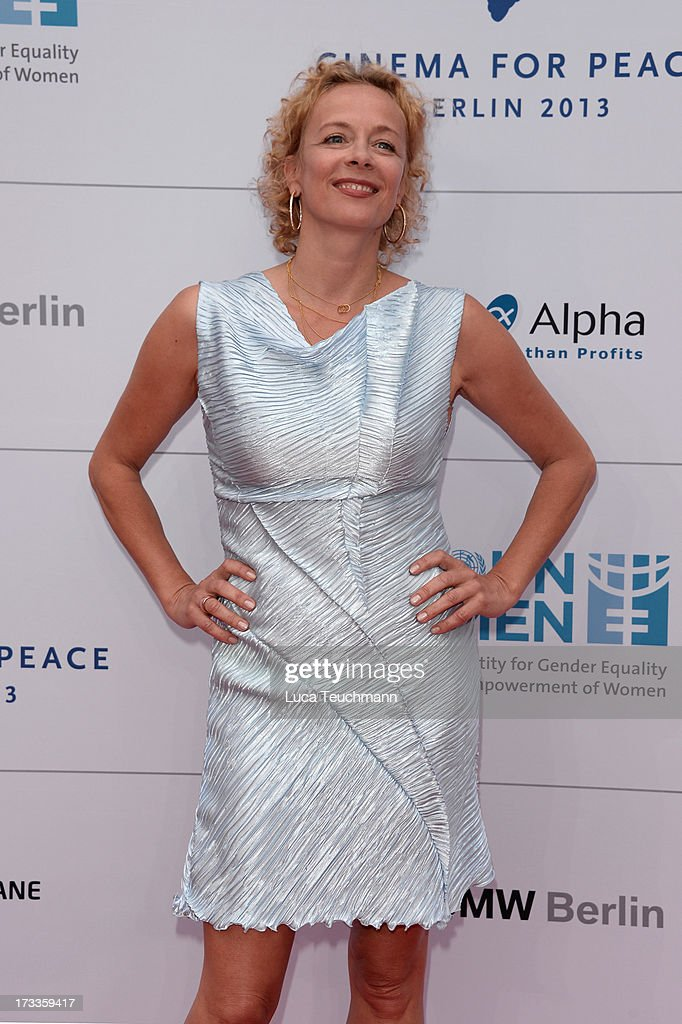 Katja Riemann arrives for the Cinema for Peace UN women honorary dinner at Soho House on July 12, 2013 in Berlin, Germany.