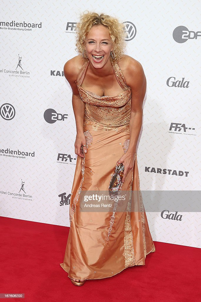 Katja Riemann arrives for the Lola - German Film Award 2013 at Friedrichstadt-Palast on April 26, 2013 in Berlin, Germany.