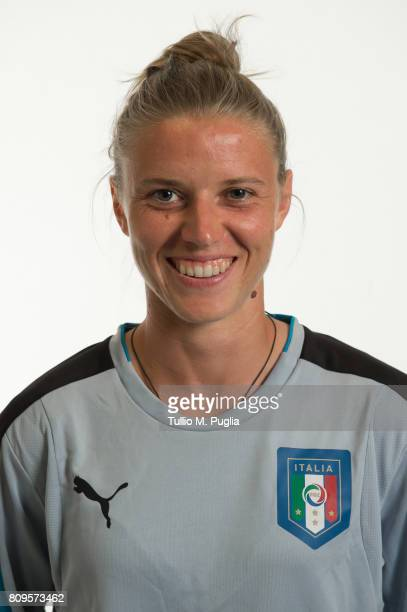 Katja Schroffenegger poses for an Italy Women's portrait session ahead of UEFA Women's EURO 2017 at Coverciano on June 29 2017 in Florence Italy