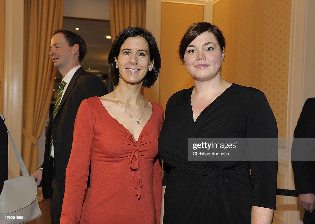 Katja Suding (FDP)(L) and Katharina Fegebang (Gruene) attend New Years`s reception of Hamburger Abendblatt at Hotel Atlantic on January 7, 2013 in Hamburg, Germany.