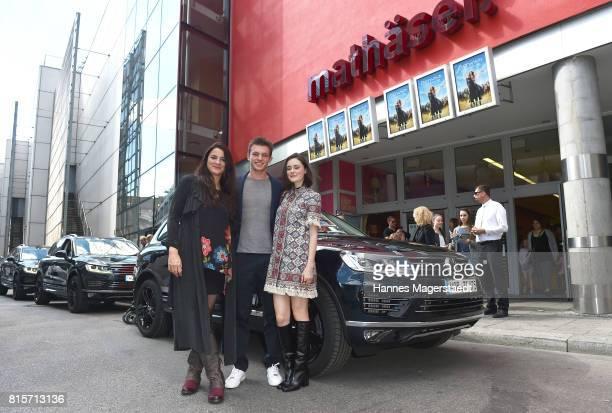 Katja von Garnier Jannis Niewoehner and Lea van Acken arrive at the 'Ostwind Aufbruch nach Ora' premiere in Munich at Mathaeser Filmpalast on July 16...