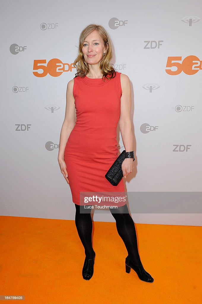 Katja Weitzenboeck poses on March 27, 2013 after a taping of one of the segments of the television program '50 Jahre ZDF' (50 Years of ZDF) in Berlin, Germany. The television network ZDF, known for its TV programs 'heute' and 'Wetten Dass..?' was founded in 1961 and is celebrating its 50th birthday with the broadcast of an anniversary show.