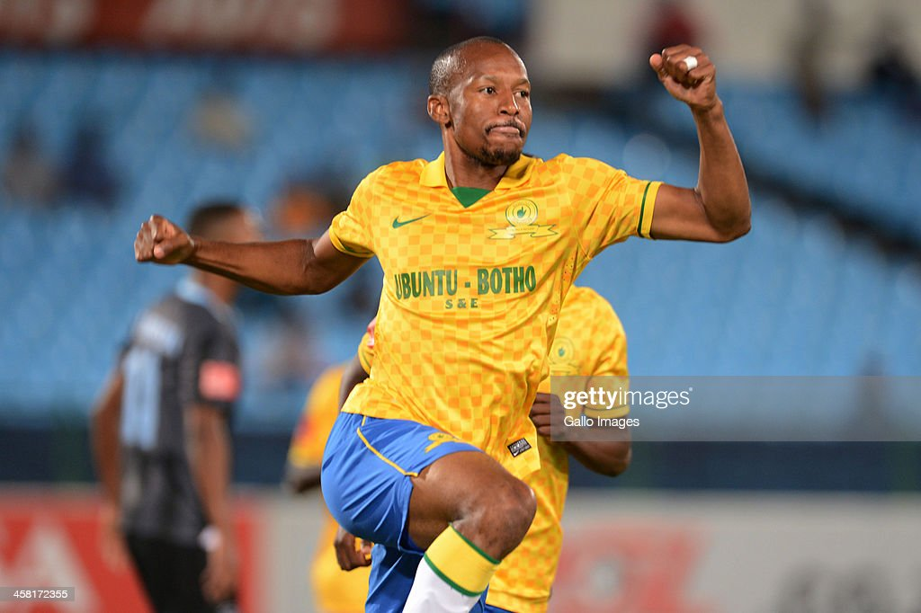 Katlego Mashego celebrates his goal during the Absa Premiership match between Mamelodi Sundowns and Maritzburg United at Loftus Stadium on December 20, 2013 in Pretoria, South Africa.