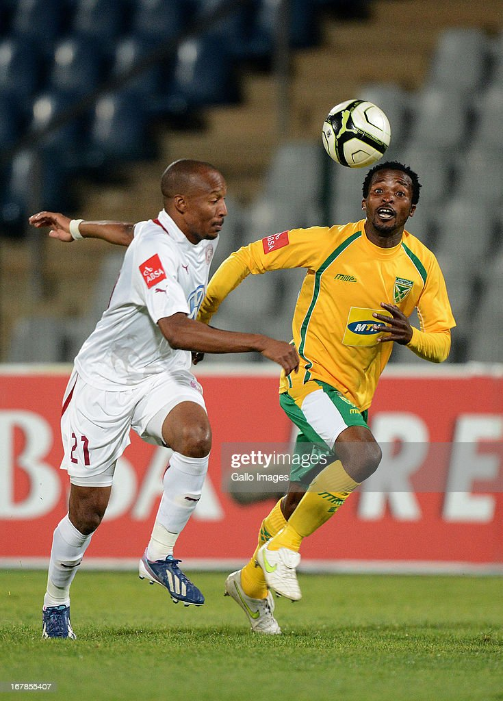 Katlego Mashego of Swallows wins the ball during the Absa Premiership match between Moroka Swallows and Golden Arrows from Volkswagen Dobsonville Stadium on May 01, 2013 in Dobsonville, South Africa.