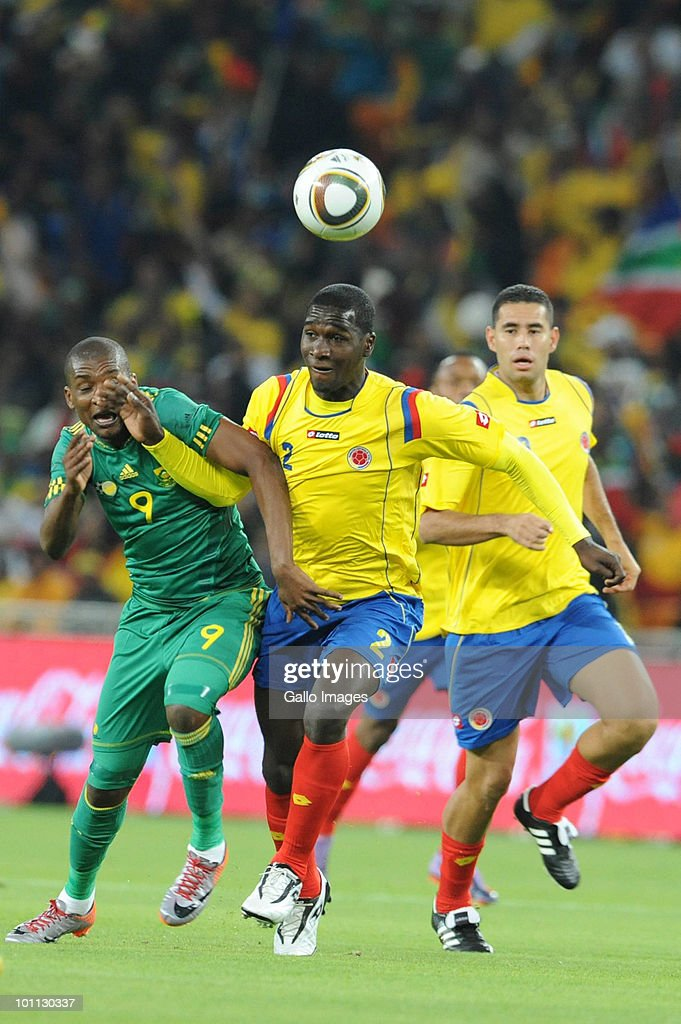 <a gi-track='captionPersonalityLinkClicked' href=/galleries/search?phrase=Katlego+Mphela&family=editorial&specificpeople=4501352 ng-click='$event.stopPropagation()'>Katlego Mphela</a> and Dorlan Pabon during the International friendly between South Africa and Columbia at Soccer City Stadium on May 27, 2010 in Johannesburg, South Africa.