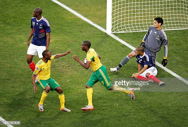 Katlego Mphela of South Africa celebrates scoring his team's second goal with team mate Bernard Parker during the 2010 FIFA World Cup South Africa...