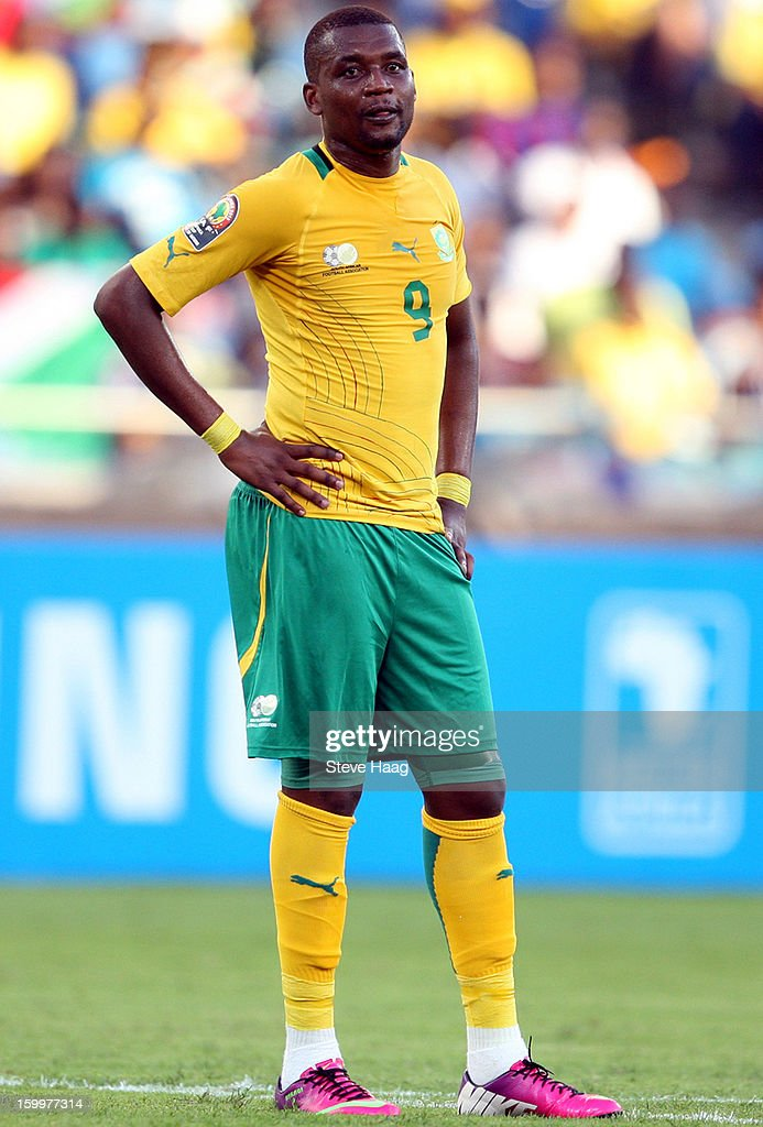 Katlego Mphela of South Africa during the 2013 African Cup of Nations match between South Africa and Angola at Moses Mahbida Stadium on January 23, 2013 in Durban, South Africa.