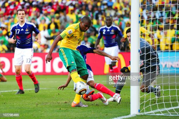 Katlego Mphela of South Africa scores his team's second goal during the 2010 FIFA World Cup South Africa Group A match between France and South...