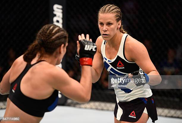Katlyn Chookagian circles Lauren Murphy in their women's bantamweight bout during the UFC Fight Night event on July 13 2016 at Denny Sanford Premier...