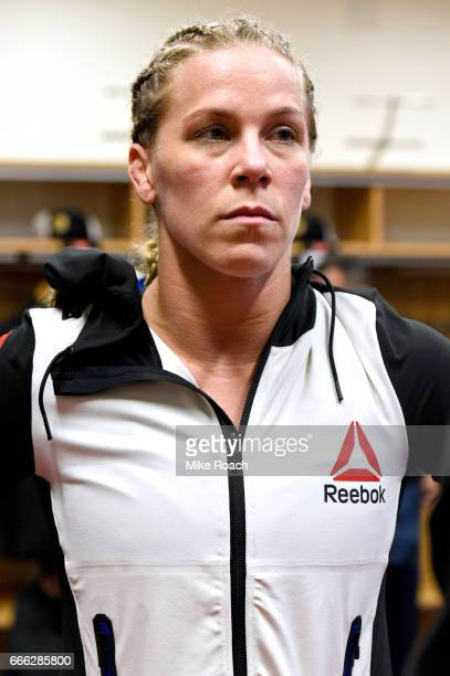 Katlyn Chookagian is seen backstage prior to the fight against Irene Aldana of Mexico at KeyBank Center on April 8 2017 in Buffalo New York