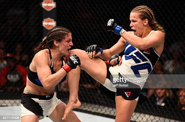 Katlyn Chookagian knees Lauren Murphy in their women's bantamweight bout during the UFC Fight Night event on July 13 2016 at Denny Sanford Premier...