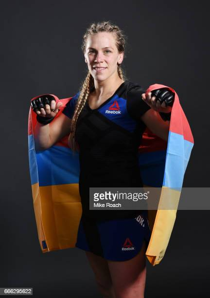 Katlyn Chookagian poses for a portrait backstage after her victory over Irene Aldana of Mexico at KeyBank Center on April 8 2017 in Buffalo New York
