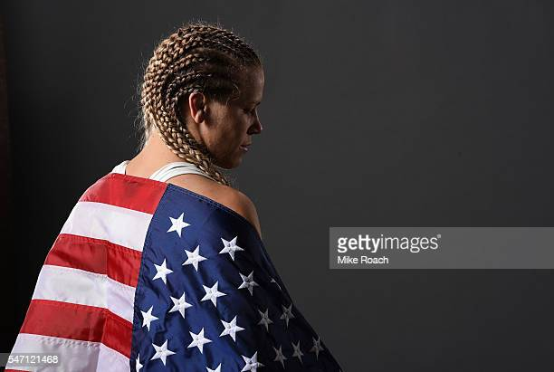 Katlyn Chookagian poses for a post fight portrait backstage during the UFC Fight Night event on July 13 2016 at Denny Sanford Premier Center in Sioux...